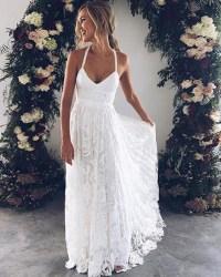 White flower lace V neck long summer beach prom dress ...