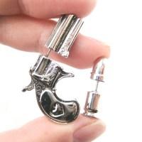 Fake Gauge Realistic Gun and Bullet Shaped Stud Earrings ...