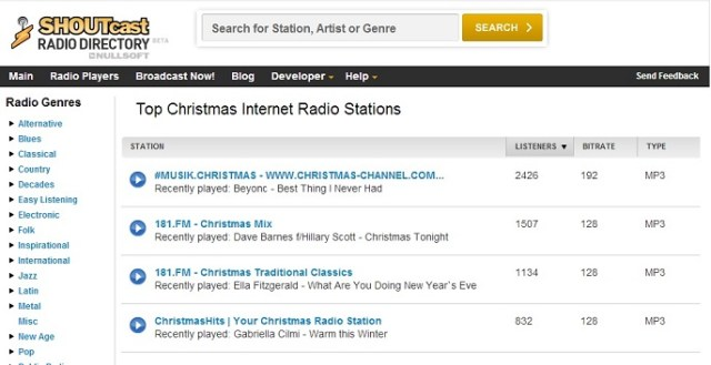 Shoutcast Christmas Radio Stations