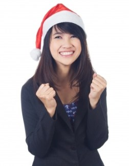 Young Lady Wearing Santa Hat