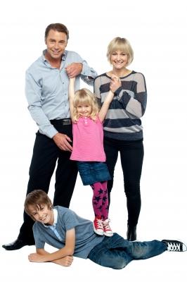 Nice Family Of A Four Having Fun