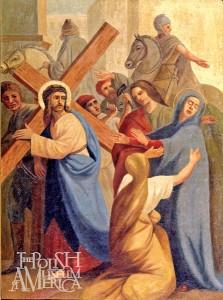 """Jedna ze stacji drogi krzyżwej - """"Jezus spotyka matkę"""" fot.archiwum Muzeum Polskiego w Ameryce"""