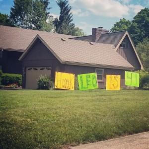 Baner przed domem - urodziny, Columbus, Ohio