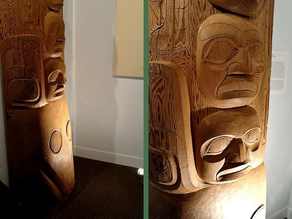 Corey's traditional totem in Fazakas gallery (Image John Thomson)
