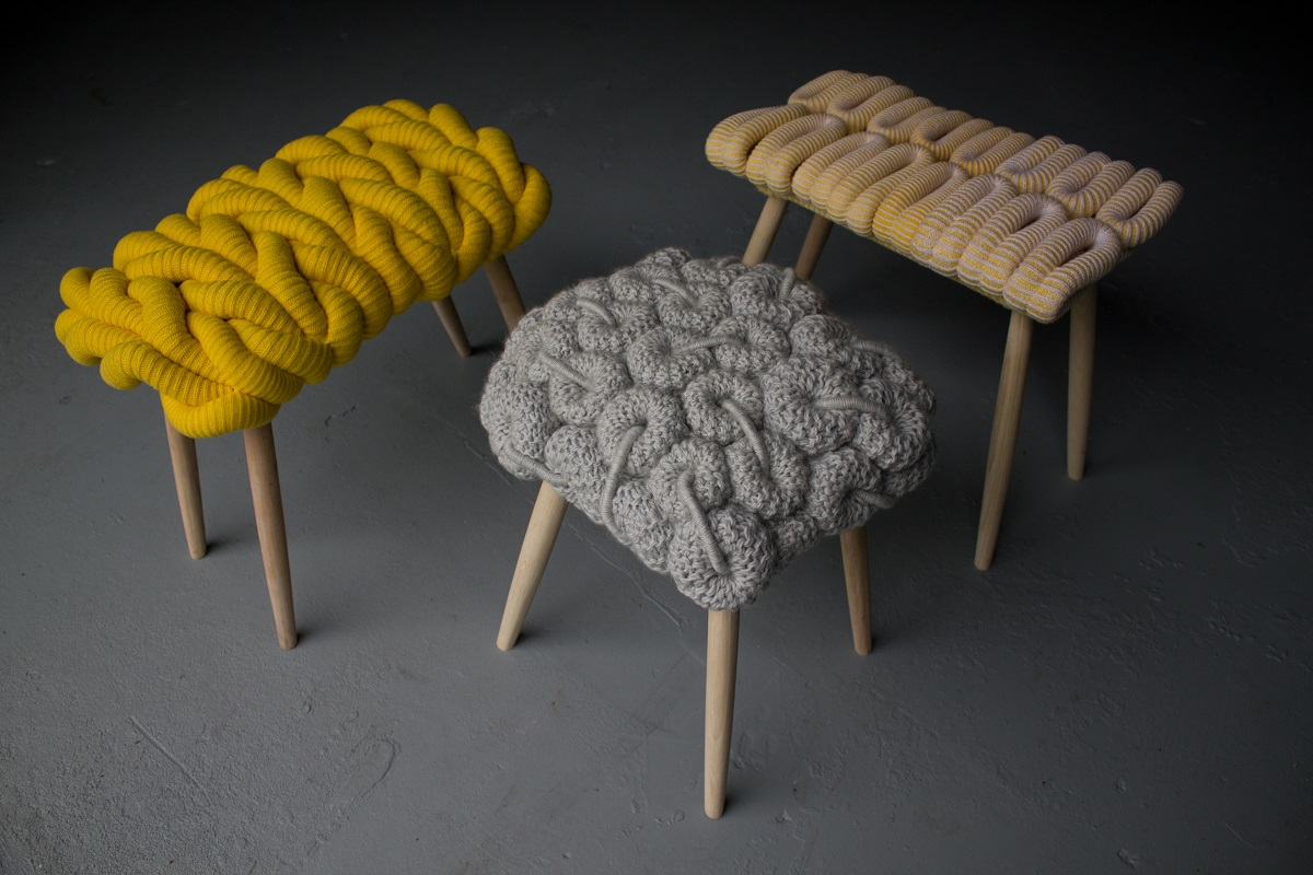knitted revolving chair lipper childrens walnut round table and 4 chairs stools by claire anne o 39brien