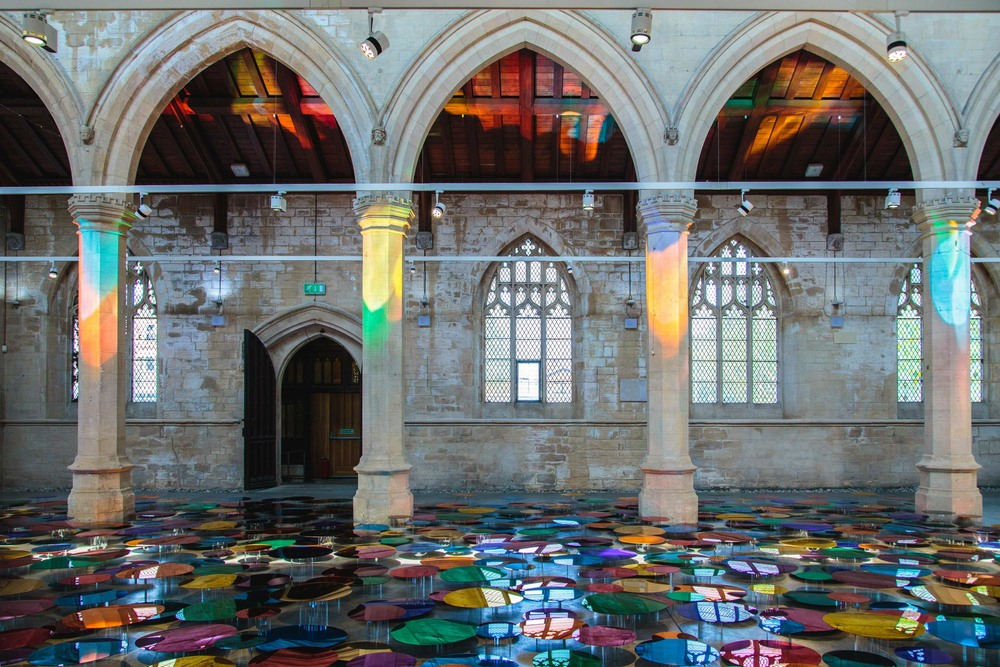 Reflective multi-coloured pool installation at St. John Church in North Lincolnshire - 05