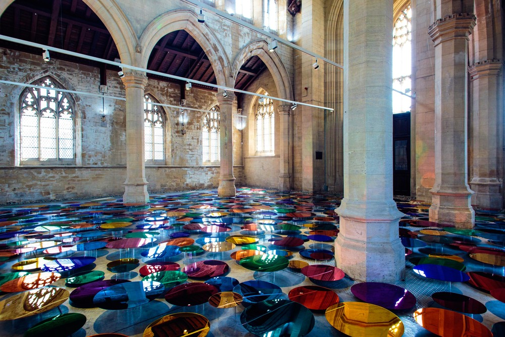 Reflective multi-coloured pool installation at St. John Church in North Lincolnshire - 06