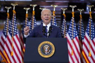 Joe Biden delivers a speech on infrastructure spending at Carpenters Pittsburgh Training Center, Wednesday, March 31, 2021, in Pittsburgh. (AP Photo/Evan Vucci)