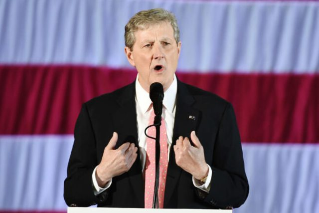 """Louisiana Treasurer and Republican Senate candidate John Kennedy speaks at a """"get-out-the-vote"""" rally with US President-elect Donald Trump on December 9, 2016 in Baton Rouge, Louisiana. / AFP / DON EMMERT        (Photo credit should read DON EMMERT/AFP via Getty Images)"""