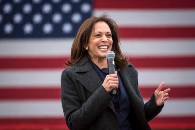 DETROIT, MI - OCTOBER 25: Democratic U.S. Vice Presidential nominee Sen. Kamala Harris (D-CA) speaks at the IBEW Local Union 58 on October 25, 2020 in Detroit, Michigan. Harris is traveling to multiple locations in the metro Detroit area to campaign for Democratic presidential nominee Joe Biden. (Photo by Nic Antaya/Getty Images)