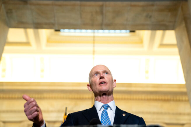 WASHINGTON, DC - APRIL 13: Senator Rick Scott (R-FL) speaks to reporters following Senate Republican Policy luncheons at the Russell Senate Office Building on Capitol Hill on April 13, 2021 in Washington, DC. Senate Republicans criticized U.S. President Joe Bidens plan to remove all troops from Afghanistan by September 11, which has been delayed from its initial deadline of May 1. (Photo by Stefani Reynolds/Getty Images)
