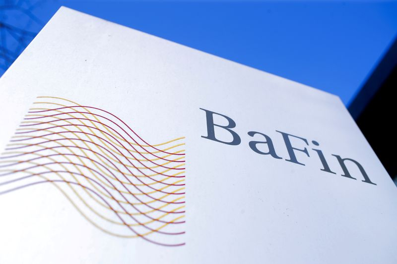 FILE PHOTO: The logo of Germany's Federal Financial Supervisory Authority BaFin (Bundesanstalt fuer Finanzdienstleistungsaufsicht) is pictured outside an office building of the BaFin in Bonn