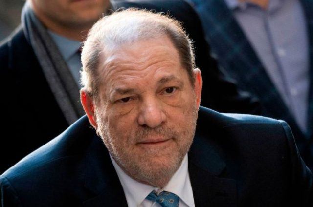 Harvey Weinstein arrives at the Manhattan Criminal Court, on February 24, 2020 in New York City. - The jury in Harvey Weinstein's rape trial hinted it was struggling to reach agreement on the most serious charge of predatory sexual assault as day four of deliberations ended February 21, 2020 without a verdict. The 12 jurors asked New York state Judge James Burke whether they could be hung on one or both of the top counts but unanimous on the three lesser counts. The disgraced movie mogul, 67, faces life in prison if the jury of seven men and five women convict him of a variety of sexual misconduct charges in New York. (Photo by Johannes EISELE / AFP) (Photo by JOHANNES EISELE/AFP via Getty Images)