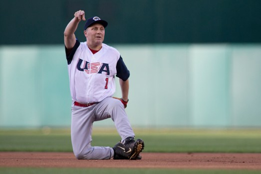 WASHINGTON, DC - JUNE 14: Rep Steve Scalise (R-LA) makes a play to first base resulting in an out after fielding a ground ball on the first pitch of the Congressional Baseball Game on June 14, 2018 in Washington, DC. Scalise was shot during a team practice before last years game. This is the 57th annual game between the Republicans and Democrats. (Photo by Alex Edelman/Getty Images)
