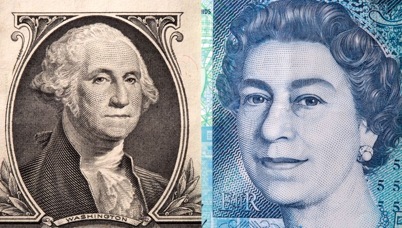 U.S. one dollar and British five pound are seen in this illustration
