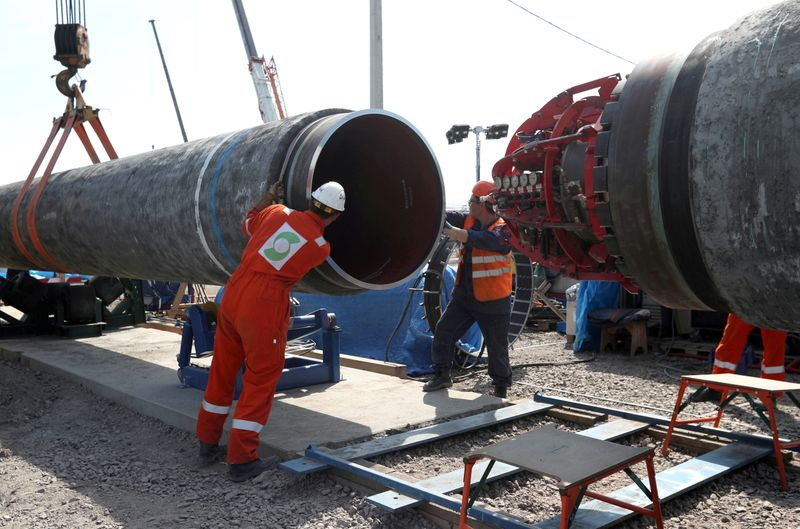 FILE PHOTO: Workers are seen at theconstruction siteof the NordStream2 gas pipeline in Russia