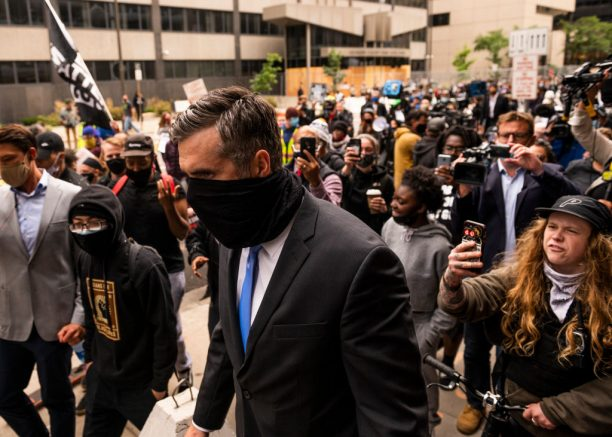 MINNEAPOLIS, MN - SEPTEMBER 11: Former Minneapolis Police officer Thomas Lane leaves the Hennepin County Family Justice Center after a pre trial hearing on September 11, 2020 in Minneapolis, Minnesota. Lane, charged with aiding and abetting second-degree manslaughter in the death of George Floyd, was met by a group of demonstrators outside the building. (Photo by Stephen Maturen/Getty Images)