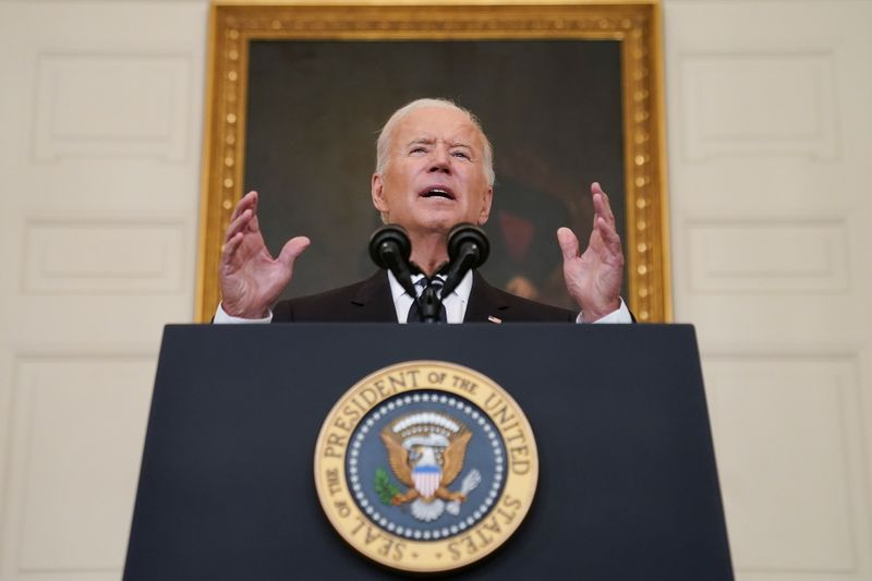 U.S. President Joe Biden delivers remarks on the Delta variant and his administration's efforts to increase vaccinations, from the State Dining Room of the White House in Washington