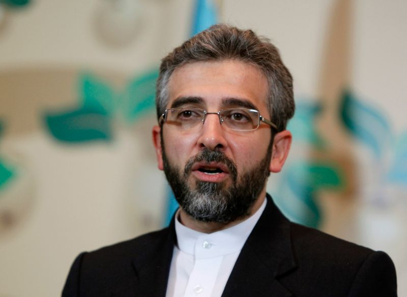 Iran's deputy negotiator Bagheri speaks during a news conference in Almaty