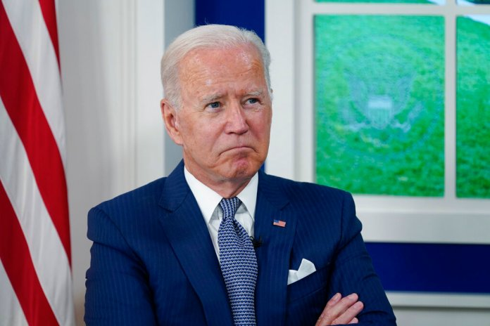President Joe Biden attends a virtual COVID-19 summit during the 76th Session of the United Nations General Assembly, in the South Court Auditorium on the White House campus, Wednesday, Sept. 22, 2021, in Washington. (AP Photo/Evan Vucci)