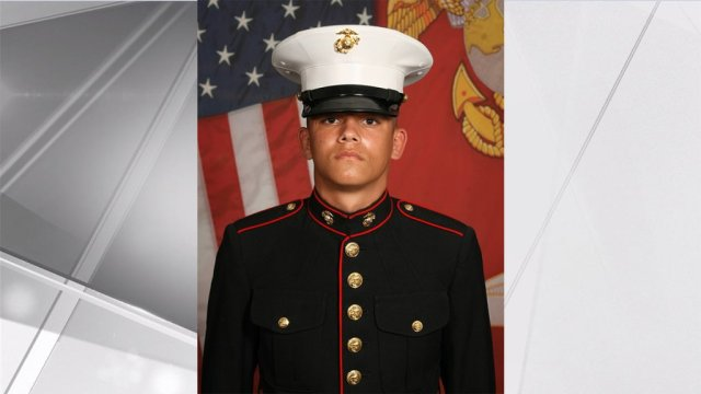 This undated photo released by the 1st Marine Division, Camp Pendleton/U.S. Marines shows Marine Corps Lance Cpl. Kareem M. Nikoui, 20, of Norco, Calif. Eleven Marines, one Navy sailor and one Army soldier were among the dead, while 18 other U.S. service members were wounded in Thursday Aug. 26, bombing, which was blamed on Afghanistan's offshoot of the Islamic State group. (U.S. Marines via AP)
