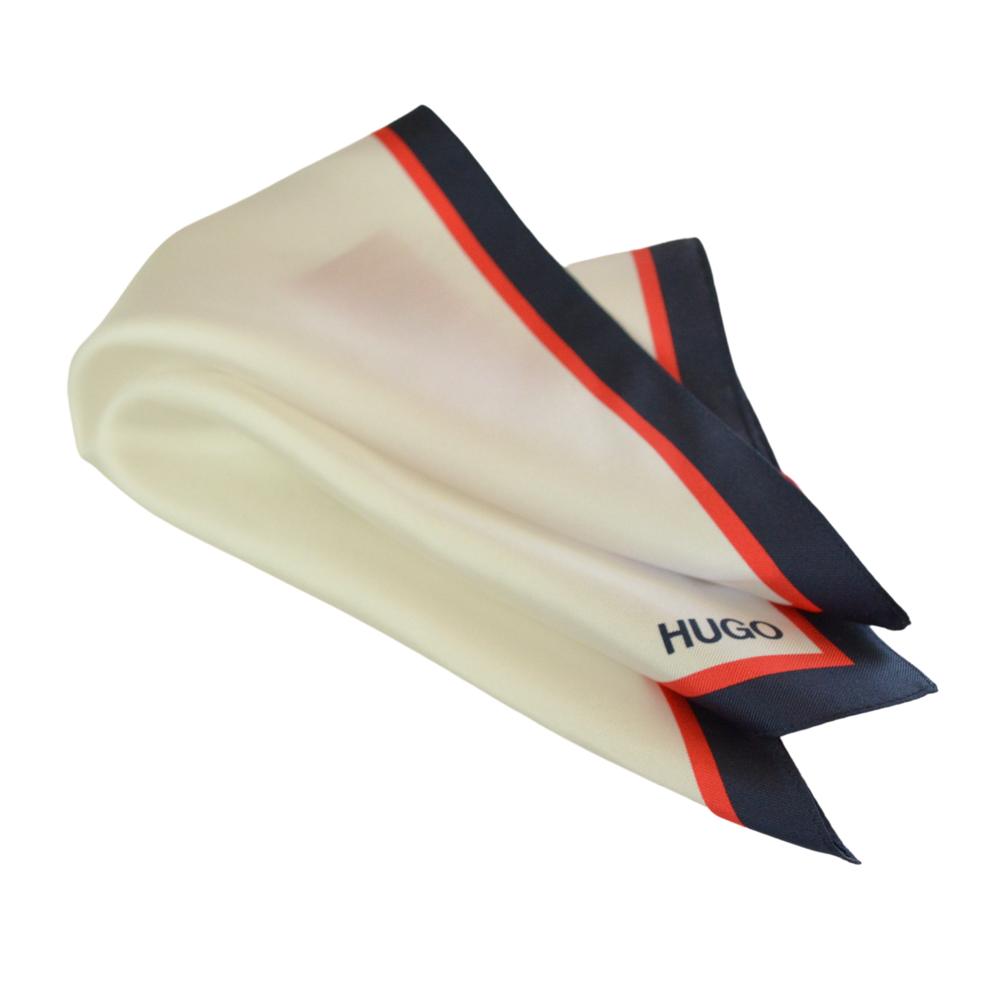 Μεταξωτό μαντηλάκι Hugo Boss λευκό με μπλε-κόκκινο