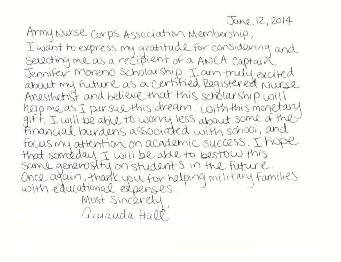 Amanda Hall Scholarship Thank-You Ltr