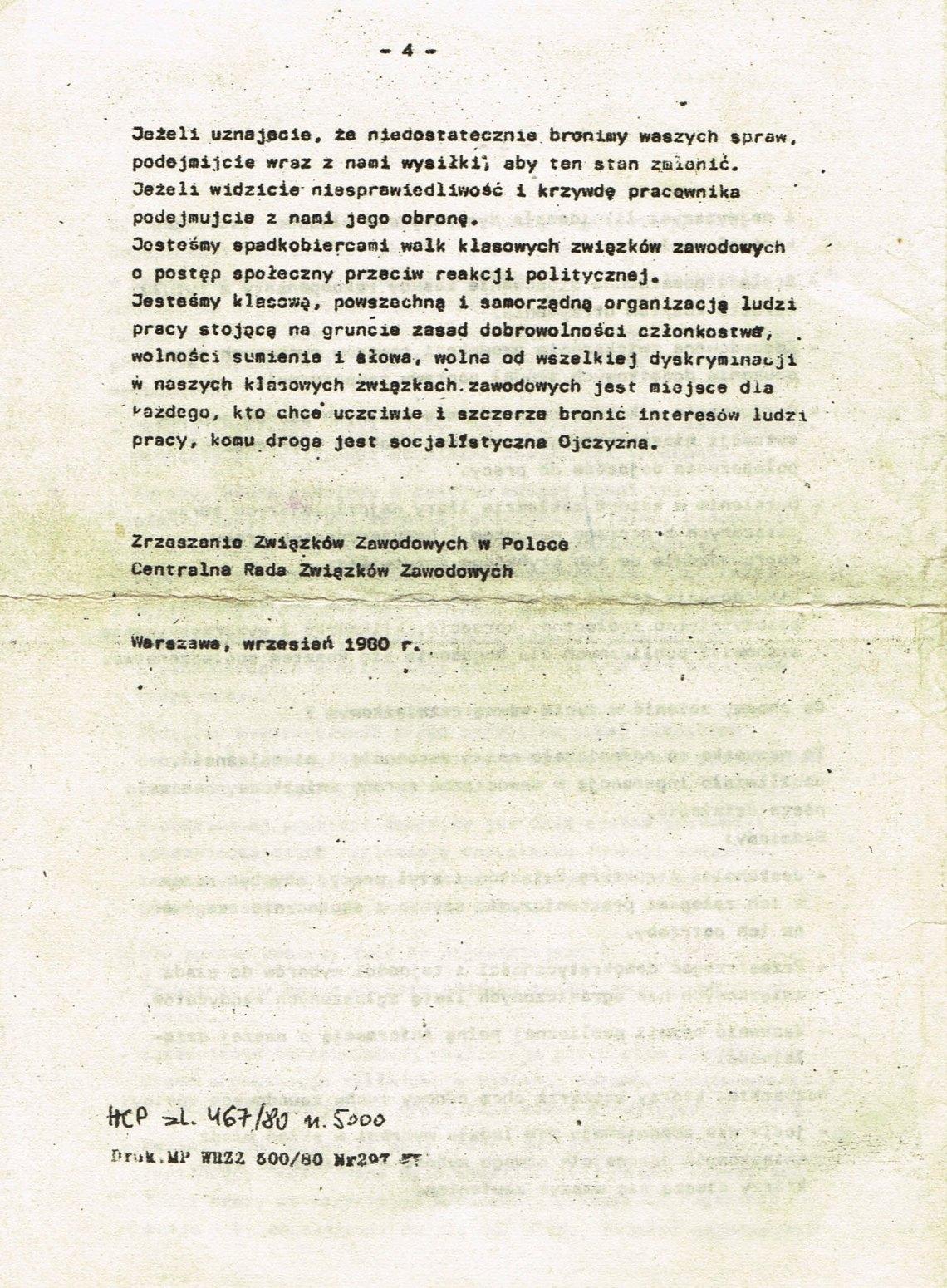 Z Archiwum Solidarności: Deklaracja Centralnej Rady Związków Zawodowych Strona 4
