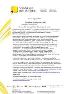 Zaproszenie na II Dolnośląski Kongres Kobiet