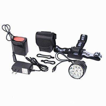 MAIKEHIGH LED Fahrradbeleuchtung / Stirnlampe mit 9 LEDs, 12000 Lumen, Schnellbefestigung / Stirnband und Lithium-Ionen-Akku -