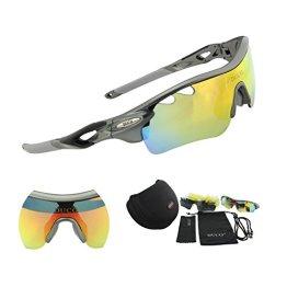 Duco Polarisierte Fahrradbrille Radfahren Sportbrille Sonnenbrille Schutzbrille 0025 (Gunmetal) -
