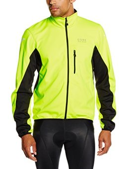 GORE BIKE WEAR Herren Winddichte Fahrradjacke, WINDSTOPPER Soft Shell, Element WS SO Jacke, JWSELM, neon yellow/black, Gr. M -