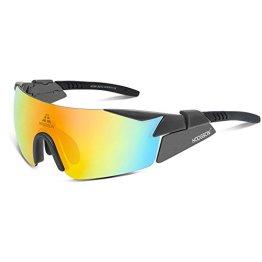 HODGSON polarisierte Sport Sonnenbrille für Herren und Damen, UV400 Schutz unzerbrechliche Sport Sonnenbrille mit 5 Wechselobjektiven für Radfahren, Cycling, Angeln, Running Outdoor Sport-GRAU -