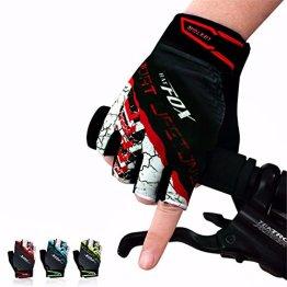 OUTERDO Unisex Mtb Fahrrad Radfahren Handschuhe Half Finger Atmungsaktive Stoßfeste Handschuhe Für Sommer Rad Sports Bike Rot L -