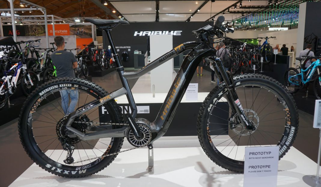 prototype 2019 Haibike eMTB with new 120Nm 630Kw e-bike battery and motor system