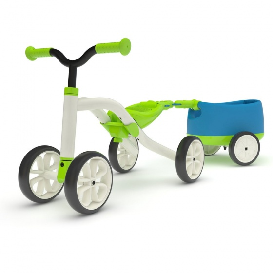 Chillafish Quadie loopfiets met trailer Junior Lime/Blauw