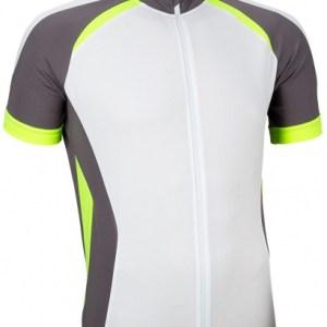 Avento Fietsshirt korte mouw heren wit/antraciet/fluorgeel maat XXL