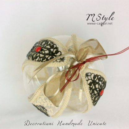 Glob Crăciun macrame, dantelă, filigran, 10 cm 3