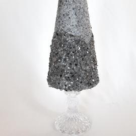 Brad argintiu decor Crăciun, 37 cm detaliu