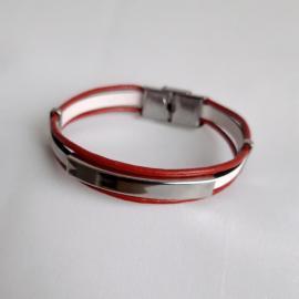 Brăţara mărţişor piele alb cu roşu şi inox