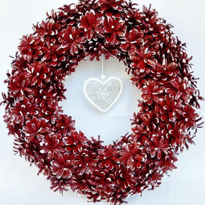 Decor ușă Crăciun Coroniță roșie 40 cm