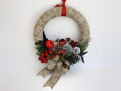 Coroniță decor Vintage alb cu roșu 32 cm