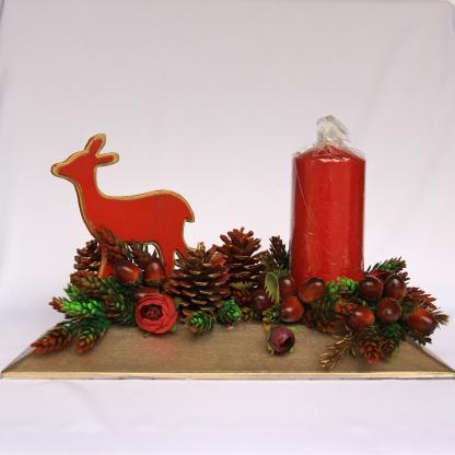 Decor Crăciun lumânare conuri şi ghinde
