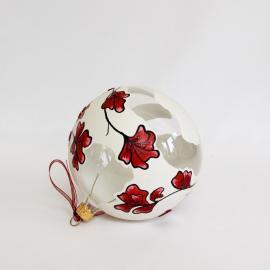 Glob sticlă Crăciun Alb cu flori roșii