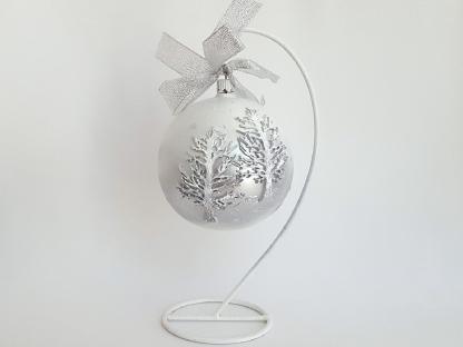 Glob craciun din sticla alb argintiu