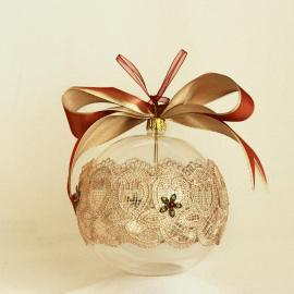 Glob Crăciun sticlă dantelă fină, 10 cm