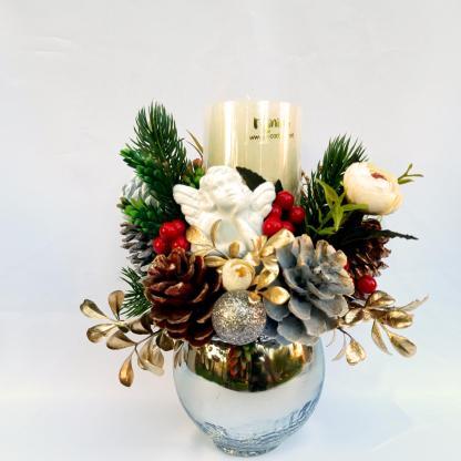 Aranjament lumânare decorată Crăciun 22 cm