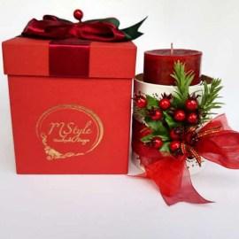 Cutie cu lumânare decorată Crăciun, 12cm