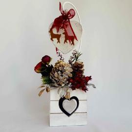 Decor Crăciun Inimioare, lemn, 31 cm