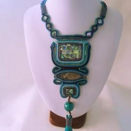 Colier Statement Soutache turquoise piatră Abalone